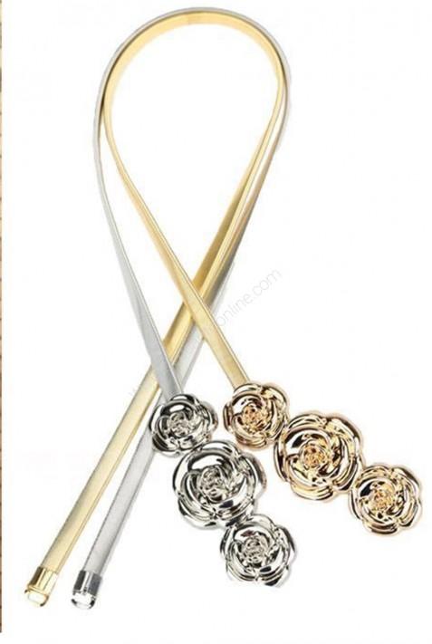 cinturon elastico con detalle flores metalicas