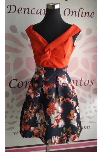Falda de jacquard estampada con tablones